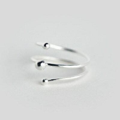 925純銀戒指開口戒~雙層螺旋圓珠 生日情人節 女飾品73dt85~ ~~米蘭 ~ ~