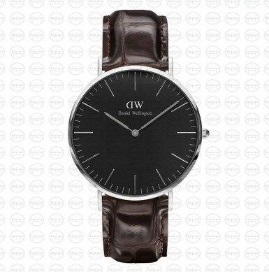 40MM 0134DW 黑錶面 深棕鱷魚錶帶 瑞典正品代購 Daniel Wellington 男錶手錶腕錶 0
