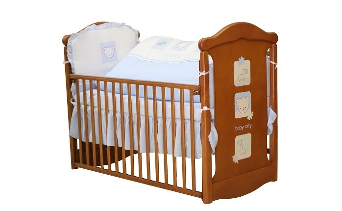 Baby City娃娃城 - 動物熊搖擺中床(柚木色) + 動物熊七件式被組(藍/粉) 附泡棉床墊 0
