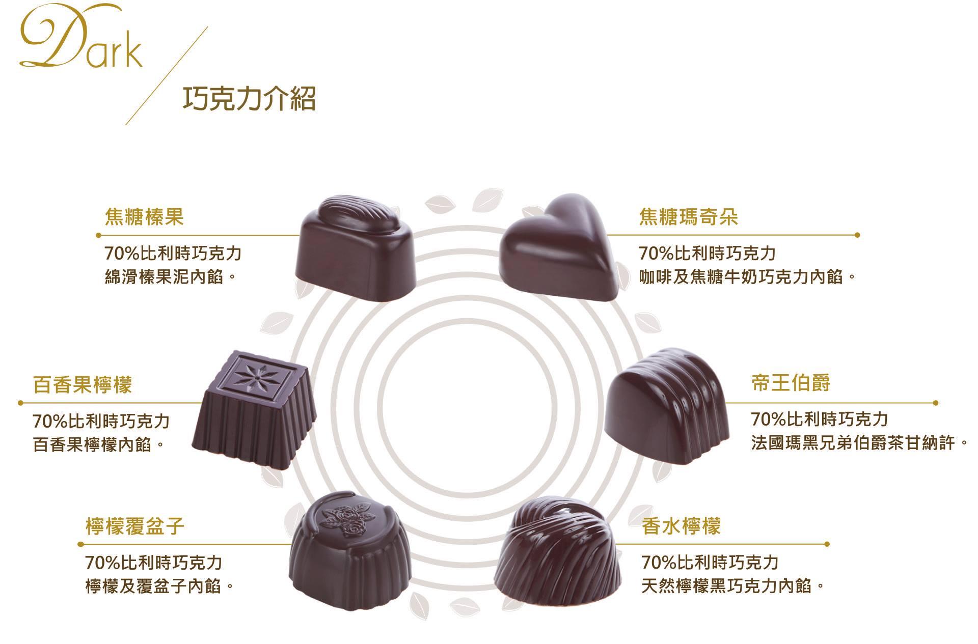 DARK  純黑手工夾心巧克力 6顆 3