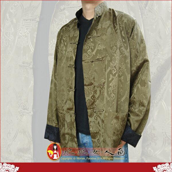 【水水女人國】~中國風男士唐裝~〈驚喜價699元〉綠配黑。書卷氣質十足的隱花軟緞2面穿長袖外套 等於買一送一