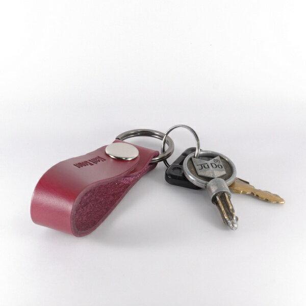 鑰匙圈 真皮 皮革 長版 酒紅-Mark Honor