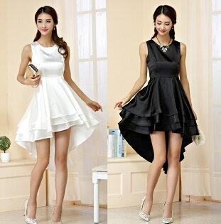 天使嫁衣【J2K9942】2色中大尺碼無袖質感亮麗前短後長造型禮服-預購