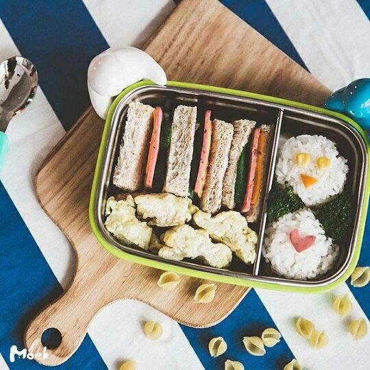 美國【Kangovou】小袋鼠不鏽鋼安全餐盒(青蘋綠) 2