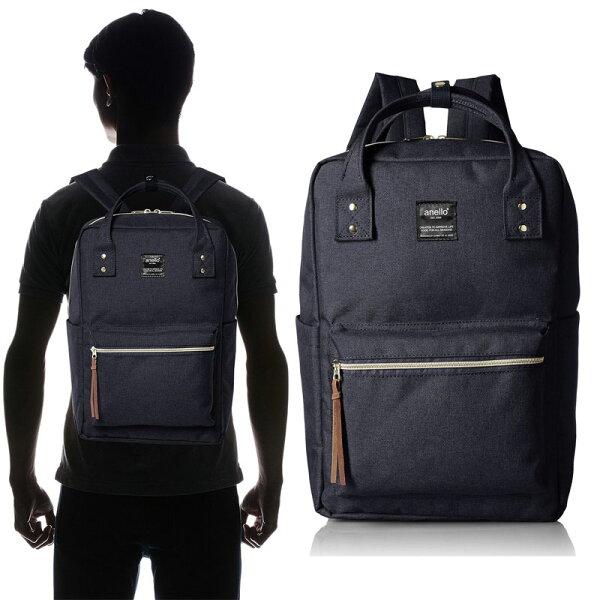 anello 深藍色 方正 日本帶回正版 帆布水洗 後背包 手提包 寬25×高36×厚13.5cm
