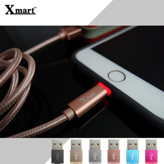 Xmart Apple 1.2米/120cm 發光編織傳輸線/充電線/2.4A/Apple iPhone 5/5S/5C/6/6S/6 PLUS/6S PLUS/iPad 5/iPad Air/Air 2/iPad Pro/iPad mini2/mini3/mini4