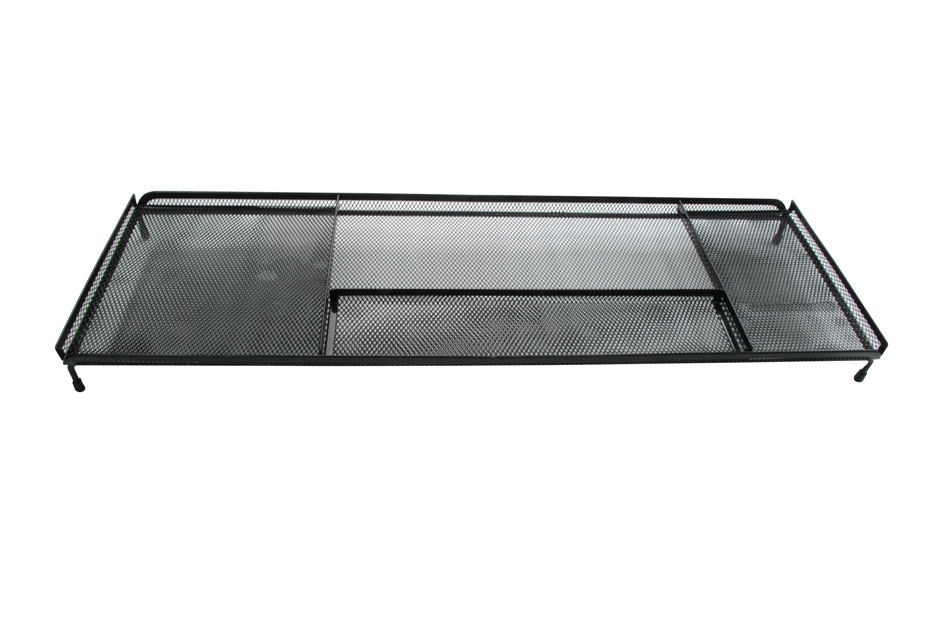 【凱樂絲】電腦桌辦公桌收納架 -4格收納區,可放置手機,筆,POST IT,文具用品 - 黑色網狀設計 0