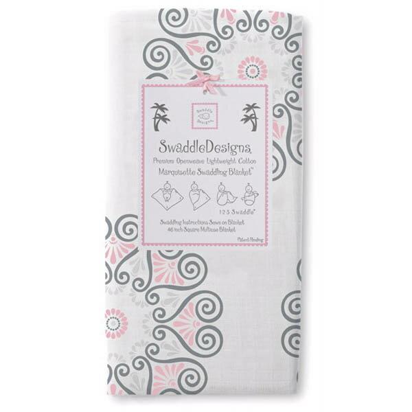 美國【Swaddle Designs】薄棉羅紗多用途嬰兒包巾 (團花紋粉紅)