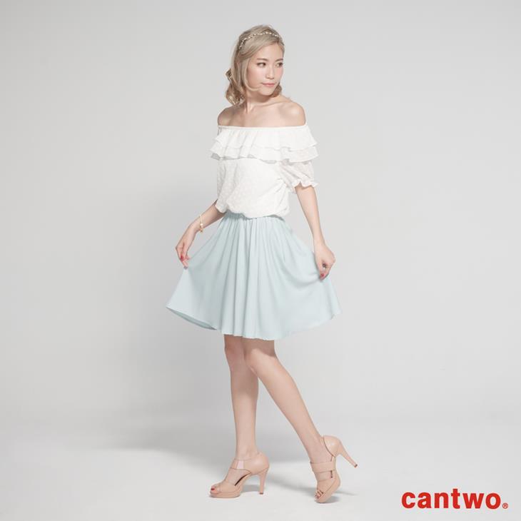 cantwo粉彩荷葉雪紡洋裝(共二色) 1