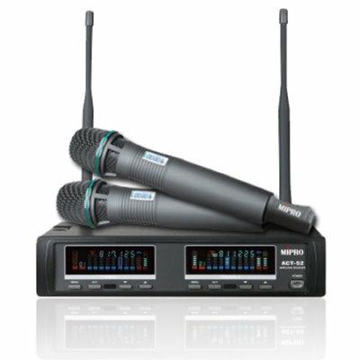 MIPRO ACT-52 UHF無線麥克風 袖珍型雙頻道自動選訊接收機 配2支手握麥克風 ACT52