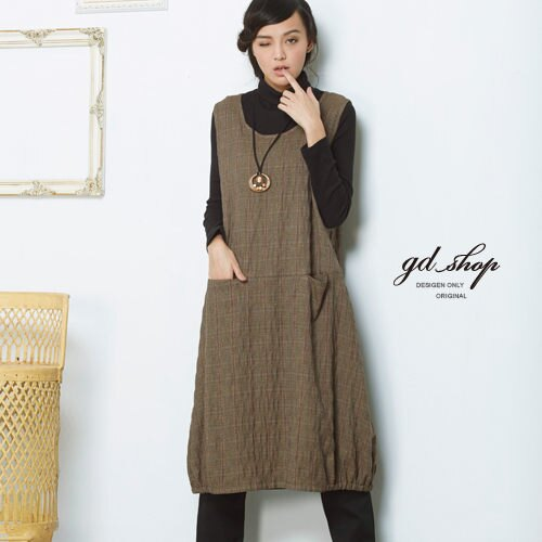 gd shop 口袋 連身長背心裙^~1525041^~~咖啡.F^( ^)