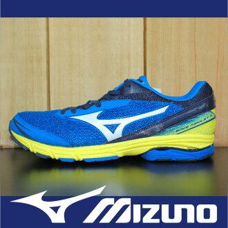 萬特戶外運動-MIZUNO美津濃 J1GA148103 WAVE AMULET 5 慢跑鞋 支撐型 適低足弓 藍色 男款