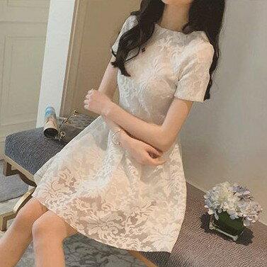 唯美鉤花裙短袖洋裝(2色)