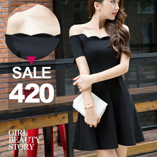 SISI【D6209】甜美優雅超美花瓣一字領短袖縮腰修身傘狀裙襬連身裙洋裝