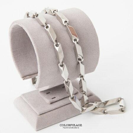 項鍊 精緻 項鏈 亮眼 粗獷白鋼 最經濟超 選擇 多面角度呈現 柒彩年代~NB677~華麗