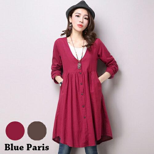 罩衫外套 - 純色V領開衩長袖罩衫洋裝【29209】藍色巴黎《2色》現貨 + 預購 0