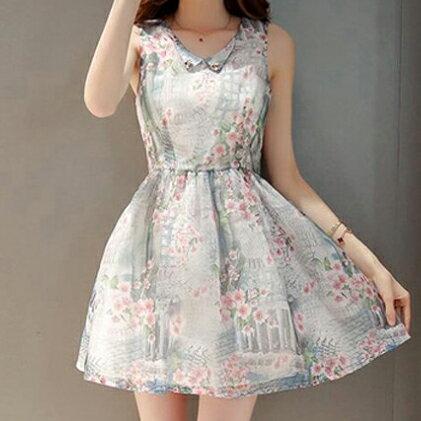 梅西蒂絲 -歐根紗無袖公主裙洋裝-S-2XL