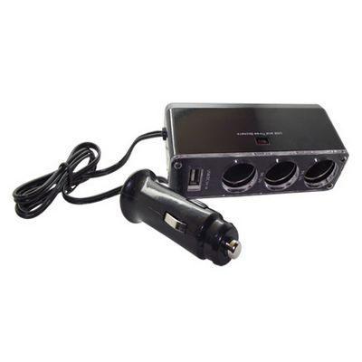 【福利品】出遊必備 車用三孔電源擴充座( USB 2A輸出)