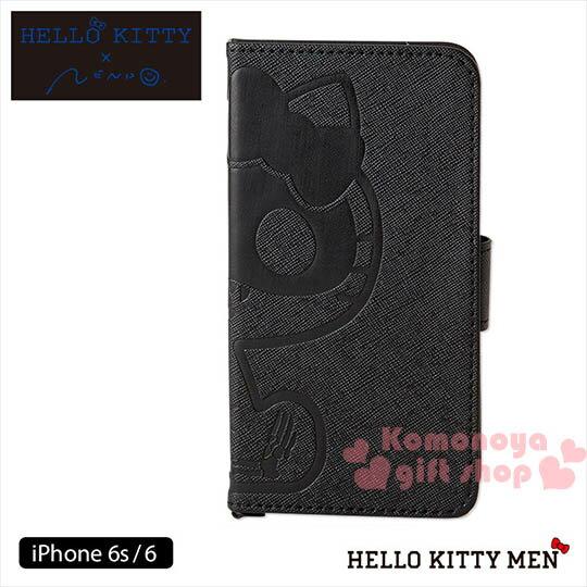〔小禮堂〕Kitty x nendo iPhone6s 6皮革掀蓋式裝飾殼~黑.骷髏頭.坐