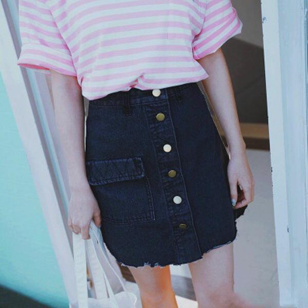 PS Mall 大口袋排扣包臀牛仔裙 短裙 裙子 窄裙~T716~ ~  好康折扣