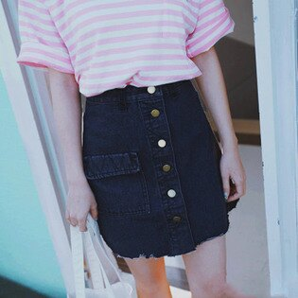 PS Mall 韓版大口袋排扣包臀牛仔裙 短裙 裙子 窄裙【T716】