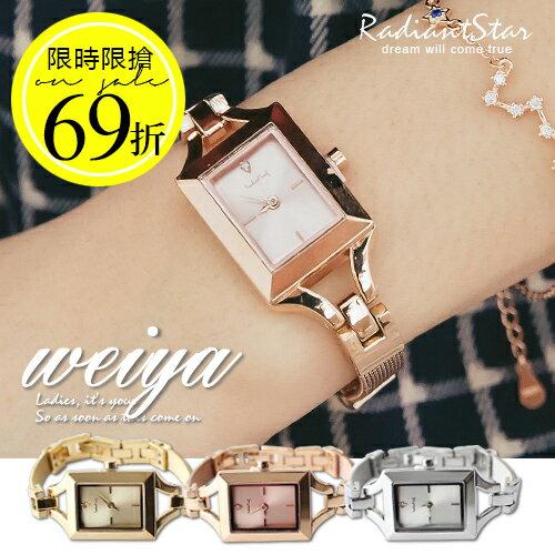 【限時限搶69折】韓國WEIYA金耀派對光燦方型米蘭金屬錶帶手錶【WWY0408】璀璨之星☆