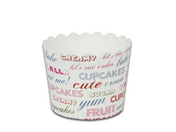 瑪芬杯、杯子蛋糕、烘烤紙杯 MF6256-10 白底英文(50pcs/包)