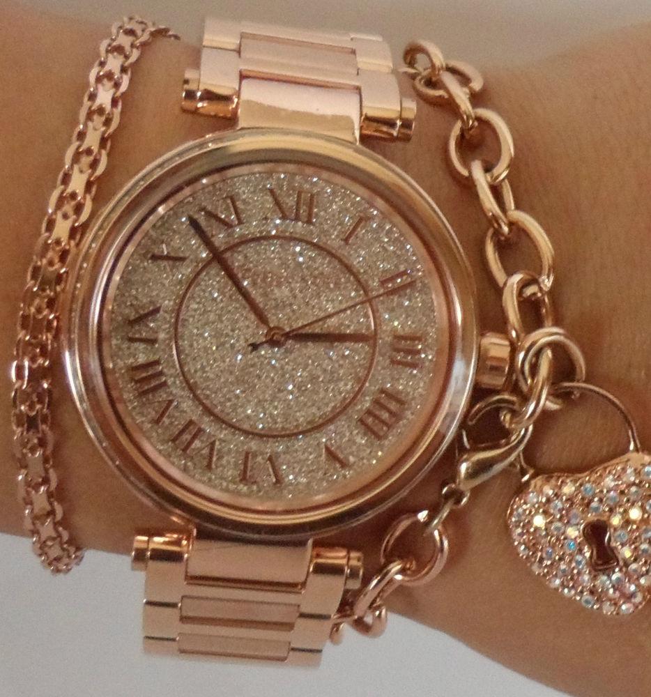 美國Outlet正品代購 MichaelKors MK 復古羅馬數字玫瑰金水鑽  陶瓷  三環 手錶 腕錶 MK5868 6