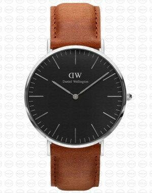 40MM 0132DW 黑錶面 真皮駝色錶帶 瑞典正品代購 Daniel Wellington 男錶手錶腕錶 0