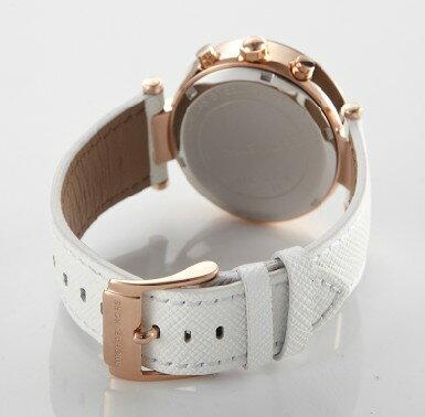 美國Outlet 正品代購 MichaelKors MK 玫瑰金鑲鑽 白色皮帶三環計時手錶腕錶 MK2281 3