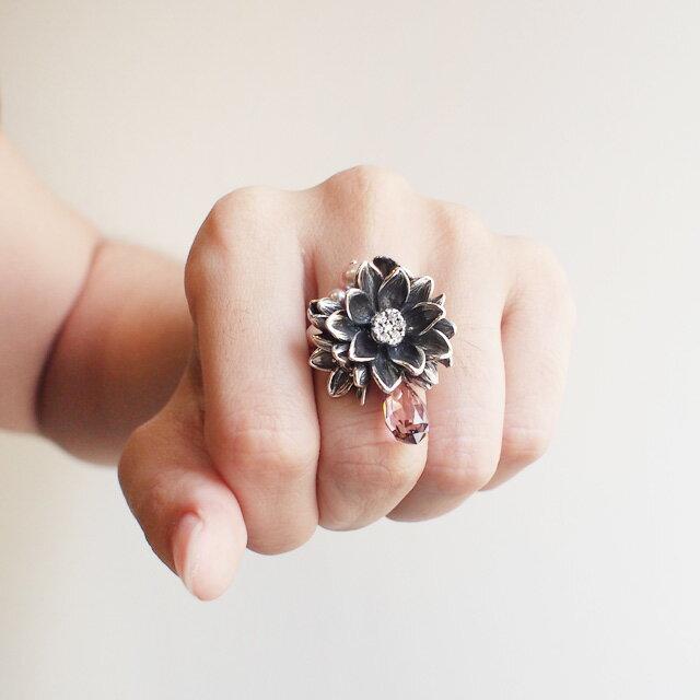 【海外訂購】【KONRON】公主珍珠花朵寶石純銀戒指-白色(KRR0535-cz-Clear) 3
