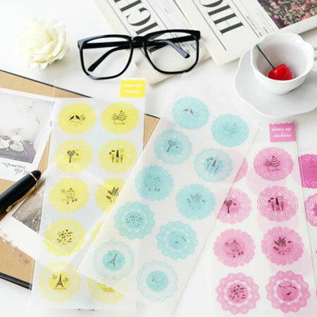 小清新圓形蕾絲裝飾貼紙 日記貼紙 裝飾貼紙 7S MINI 25 50S MINI 8 90 MINI90 PD233【B511462】