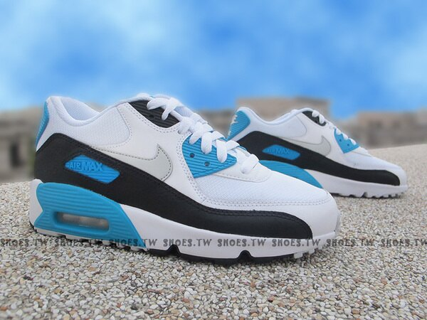 Shoestw【833418-101】NIKE AIR MAX 90 MESH (GS) 白藍黑 氣墊 大童鞋 女生