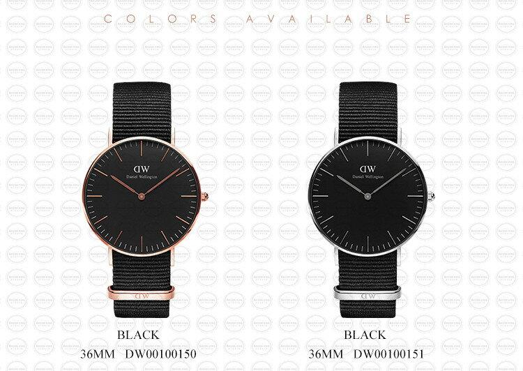 36MM 0150DW 黑錶面玫瑰金邊 簡約尼龍錶帶 瑞典正品代購 Daniel Wellington 對錶手錶腕錶 3