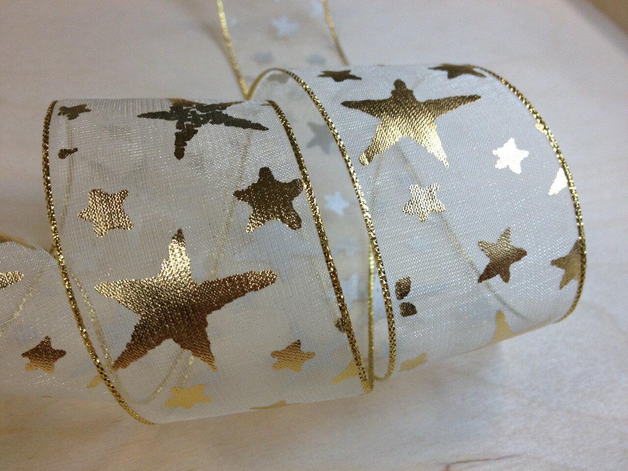 網紗緞帶-聖誕彩色星星 38mm 3碼裝 (5色) 4
