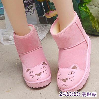 ☼zalulu愛鞋館☼ JE174 預購可愛貓咪圖騰素面內刷毛短筒雪地靴-偏小-黑/灰/粉-36-40