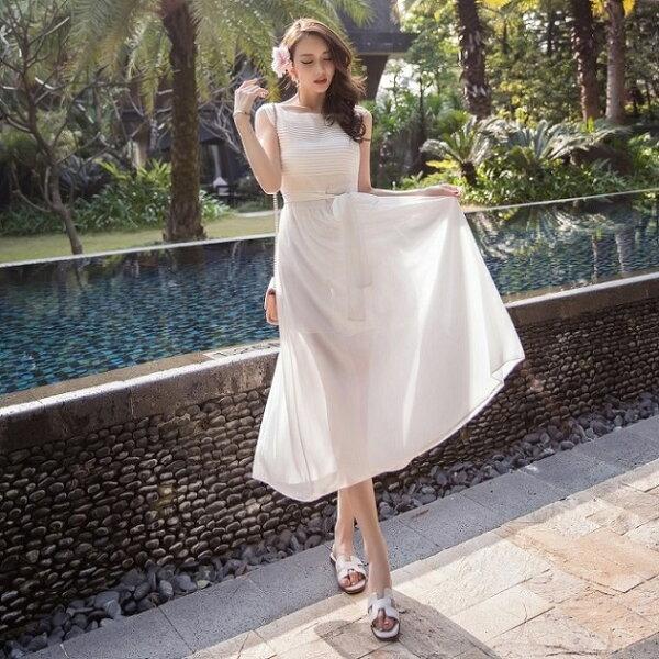 PS Mall 雪紡夏季波西米亞長裙度假沙灘裙收腰連身裙 洋裝【T1808】