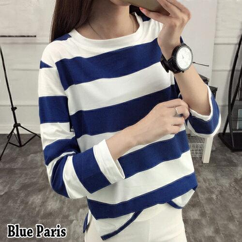 上衣 ~ 寬鬆條紋下擺開衩T恤~29151~藍色巴黎~4色~