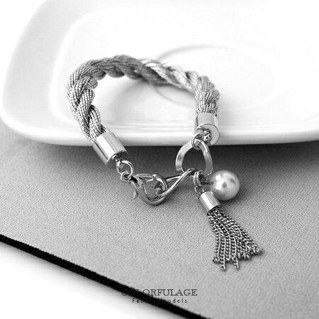 手環手鍊 甜美流蘇麻花編織金屬手環手鍊 甜美雪白珍珠 氣質精緻感 柒彩年代【NA323】共2色 0