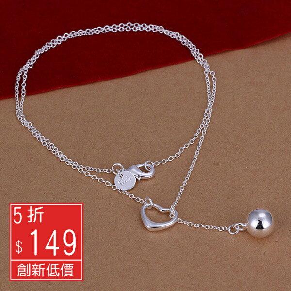 Missyoyo  925純銀愛心吊球造型飾品項鍊【Q02YN164】-預購