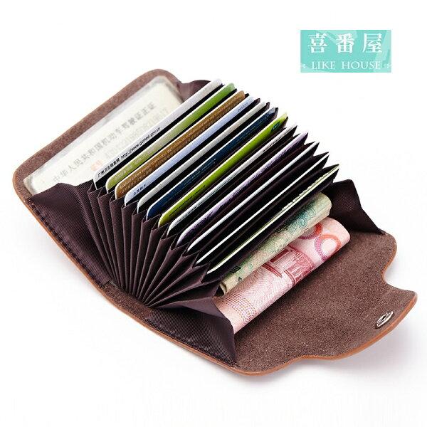 【喜番屋】日韓版真皮牛皮12卡位按扣卡片包卡片夾卡片套卡包卡夾卡套CB120