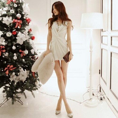 短洋裝 - 韓版氣質無袖捲摺修身連衣裙【29049】藍色巴黎《2色》現貨+預購 2