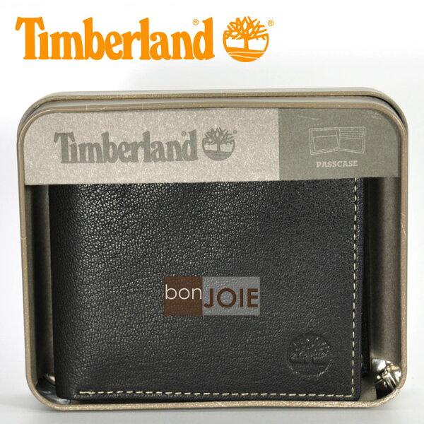 ::bonJOIE:: 美國進口 新款 Timberland 鐵盒裝上翻式透明窗皮夾 (黑色)(附原廠盒裝) 真皮 三折式 短夾 實物拍攝