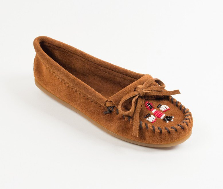【Minnetonka 莫卡辛】棕色 - 磨砂牛皮、豆豆底、流蘇、蝴蝶結、串珠、雷鳥二代 0