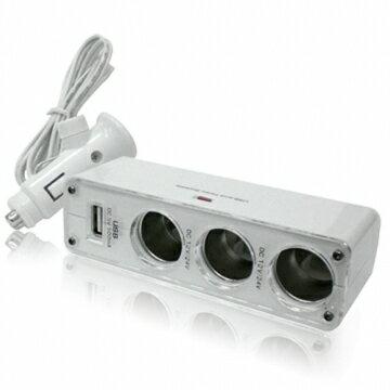 車用點煙器 點菸器 車用充電器 擴充座 一孔變三孔 車充三孔+USB孔 行車記錄器 測數器