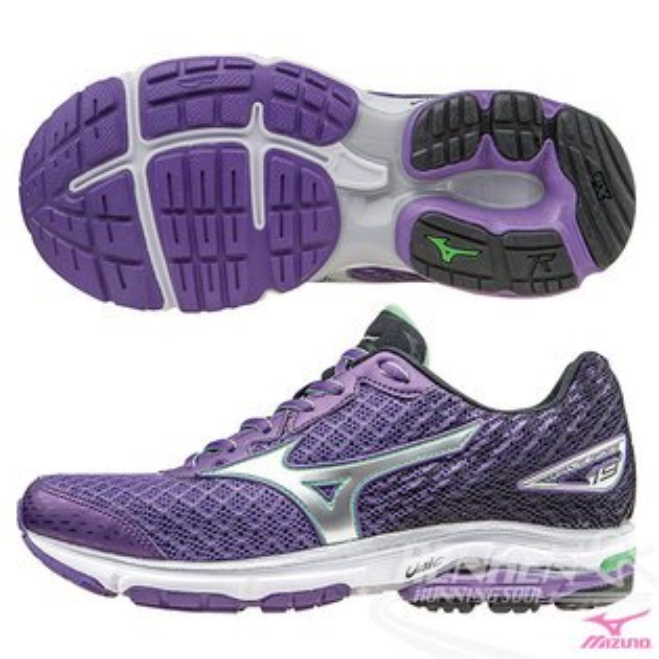 MIZUNO 美津濃 WAVE RIDER 19(W) 女慢跑鞋 路跑 (紫*黑*銀) 2016年搶先上市