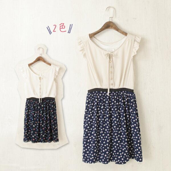 純色拼接花朵裙擺雪紡無袖洋裝