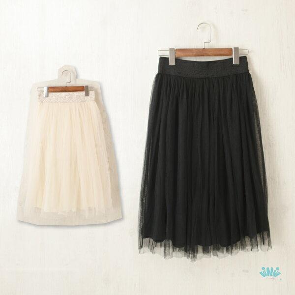 viNvi Lady 緹花彈性腰帶純色雙紗長裙