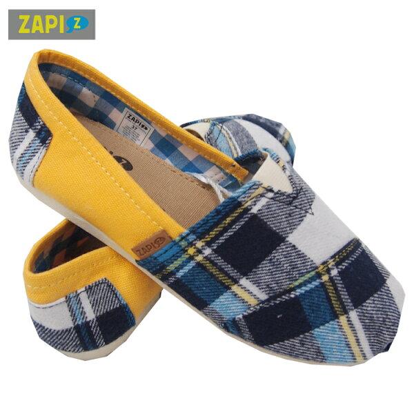 ZAPI休閒懶人鞋-格子藍黃