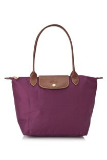 [2605-S號]國外Outlet代購正品 法國巴黎 Longchamp  長柄 購物袋防水尼龍手提肩背水餃包 覆盆紫